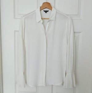Massimo Dutti white pleated bell sleeve shirt